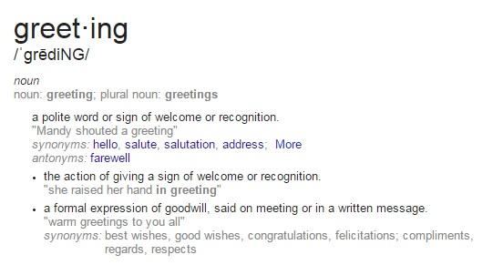 greeting def